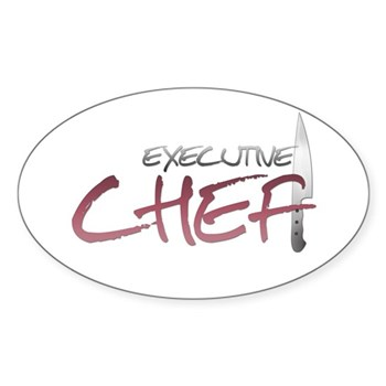Red Executive Chef Oval Sticker (50 pk)