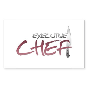 Red Executive Chef Rectangle Sticker
