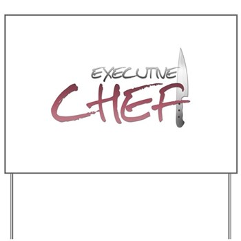Red Executive Chef Yard Sign