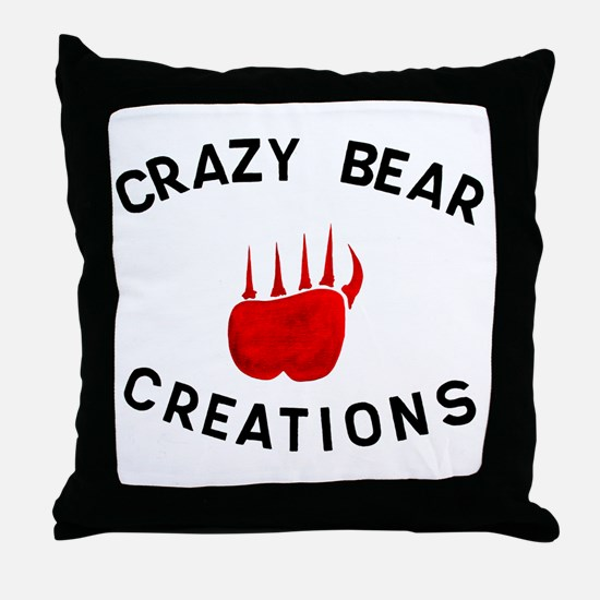 Crazy Bear Logo Throw Pillow