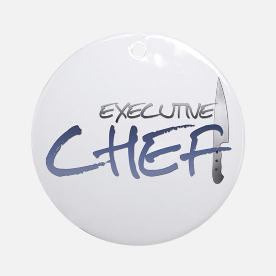 Blue Executive Chef Round Ornament