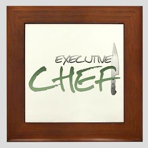 Green Executive Chef Framed Tile