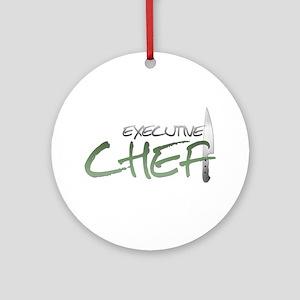 Green Executive Chef Round Ornament