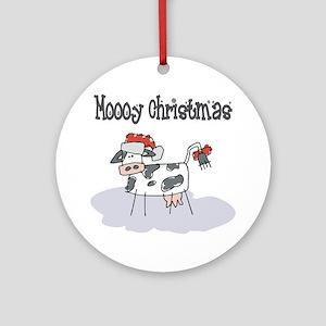 Moooy Christmas Ornament (Round)