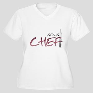 Red Sous Chef Women's Plus Size V-Neck T-Shirt