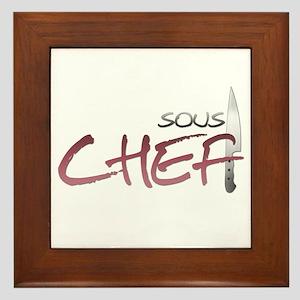 Red Sous Chef Framed Tile