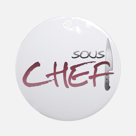 Red Sous Chef Round Ornament