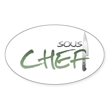 Green Sous Chef Oval Sticker