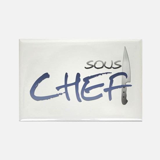 Blue Sous Chef Rectangle Magnet (100 pack)