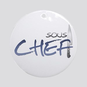 Blue Sous Chef Round Ornament