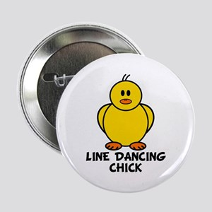 """Line Dancing Chick 2.25"""" Button"""