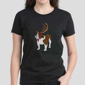 Bulldog in Antlers Women's Dark T-Shirt