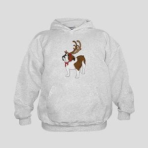 Bulldog in Antlers Kids Hoodie
