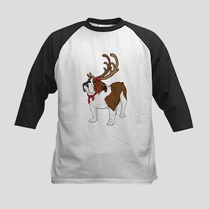 Bulldog in Antlers Kids Baseball Jersey