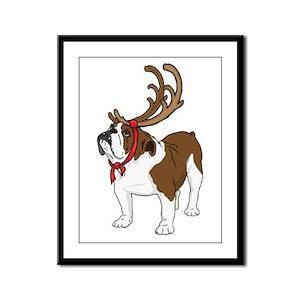 Bulldog in Antlers Framed Panel Print