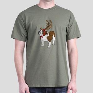Bulldog in Antlers Dark T-Shirt