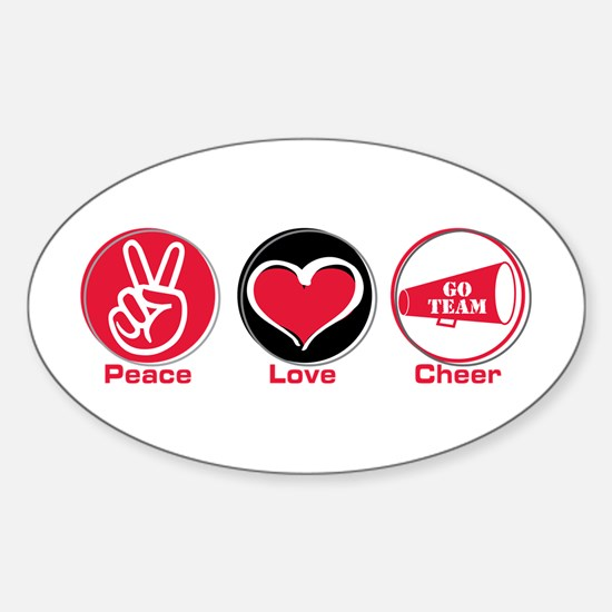 Peace Love Cheer Red Sticker (Oval)