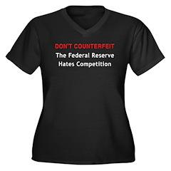 Don't Counterfeit Women's Plus Size V-Neck Dark T-