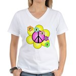 Peace Blossoms /pink Women's V-Neck T-Shirt