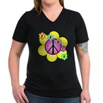 Peace Blossoms /pink Women's V-Neck Dark T-Shirt