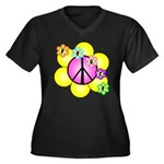 Peace Blossoms /pink Women's Plus Size V-Neck Dark