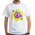 Peace Blossoms /pink White T-Shirt