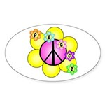 Peace Blossoms /pink Oval Sticker