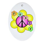 Peace Blossoms /pink Oval Ornament