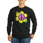 Peace Blossoms /pink Long Sleeve Dark T-Shirt