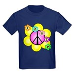 Peace Blossoms /pink Kids Dark T-Shirt