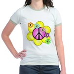 Peace Blossoms /pink Jr. Ringer T-Shirt