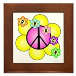 Peace Blossoms /pink Framed Tile