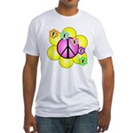 Peace Blossoms /pink Fitted T-Shirt