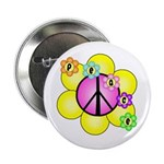 "Peace Blossoms /pink 2.25"" Button"
