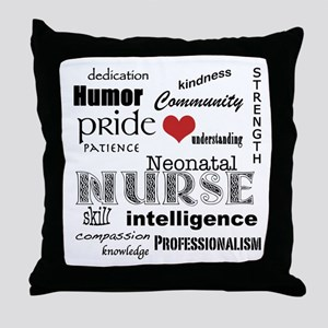 Neonatal Nurse Pride-Red Heart Throw Pillow