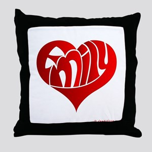 Emily (Red Heart) Throw Pillow