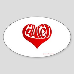 Lauren (Red Heart) Oval Sticker