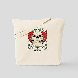 Skull and Heart Tote Bag