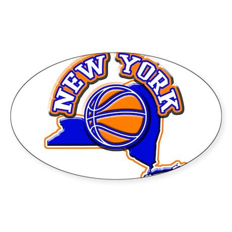New York Basketball Oval Sticker (50 pk)
