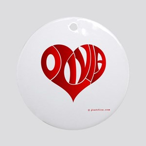Olivia (Red Heart) Ornament (Round)