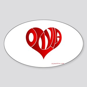 Olivia (Red Heart) Oval Sticker