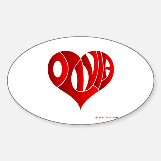Olivia (Red Heart) Oval Decal