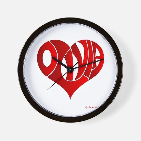 Olivia (Red Heart) Wall Clock