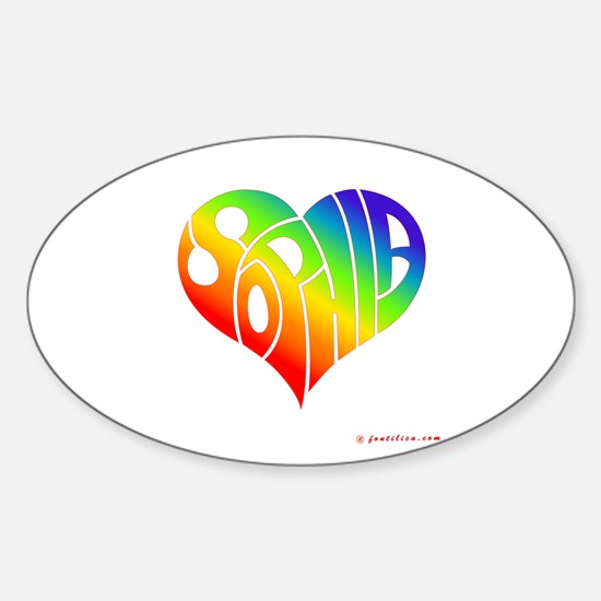 Sophia (Rainbow Heart) Oval Decal