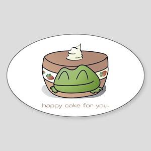 Strawberry Frog Shortcake Oval Sticker