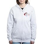 Smiley Emoticon - Santa Hat Women's Zip Hoodie
