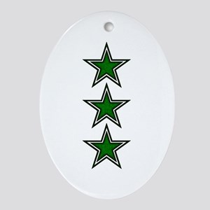 Green Star Belly Ornament (Oval)