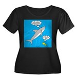 Shark So Women's Plus Size Scoop Neck Dark T-Shirt