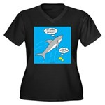 Shark Song Women's Plus Size V-Neck Dark T-Shirt