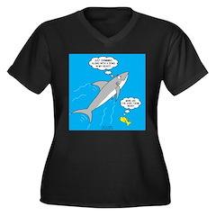 Shark Song Women's Plus Size V-Neck Dark T-Shirt